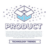 Vector creative illustration of open box with word typography an. D cloud of line icons on white background. Product packing template. Thin line art style Stock Photos