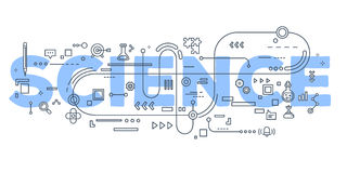 Vector creative illustration of science word lettering typograph. Y with line icons on white background. Science technology concept. Thin line art style design Royalty Free Stock Images
