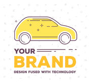 Vector creative illustration of side view car with pattern  Stock Photos