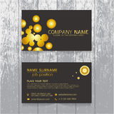Vector Creative leaf business card gold and black design of text Stock Images