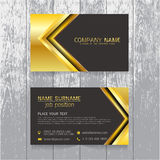 Vector Creative leaf business card gold and black design of text Stock Photography
