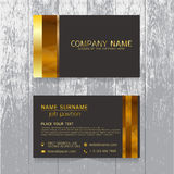 Vector Creative leaf business card gold and black design of text Stock Photos
