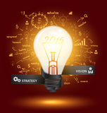 Vector creative light bulb with drawing charts and graphs. Creative light bulb with drawing charts and graphs business 2015 new year success strategy plan ideas Royalty Free Stock Photos