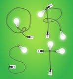 Vector creative light bulb idea alphabet design Stock Images