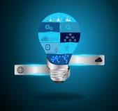 Vector creative light bulb idea with modern techno Royalty Free Stock Photo