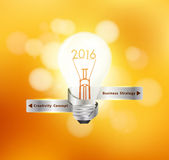 Vector creative light bulb idea 2016 new year. With christmas holiday lights bokeh background Royalty Free Stock Photography