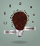 Vector creative light bulb ideas with abstract coffee beans pattern Royalty Free Stock Photo