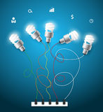 Vector creative light bulbs ideas concept Stock Image