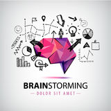 Vector creative logo, brainstorm creating new ideas, teamwork illustration Stock Photography