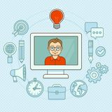 Vector creative manager. Online buisness concept with icons in flat style Royalty Free Stock Images