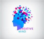 Vector creative mind, human head logo concept illustration. Learning icon. Innovation technology symbol. Digital modern. Communication. Manager. psychology royalty free illustration