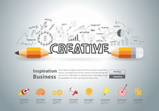 Vector creative pencil design with drawing charts graphs Stock Images