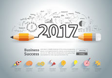 Vector creative pencil design new year 2017. Creative pencil design on drawing charts graphs business success strategy plan ideas concept, New year 2017 calendar Royalty Free Stock Photography