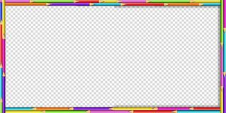 Vector creative rectangle border frame made of colored wooden pencils. On transparent background. Back to school framework bordering template concept, banner stock illustration