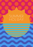 Vector creative summer background, multicolor sun, sky and sea w Royalty Free Stock Photography