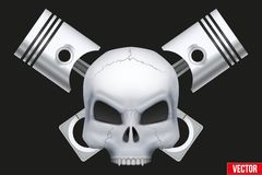 Vector Creative symbol Human skull with engine Royalty Free Stock Images