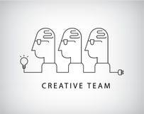 Vector creative team, working group logo, linear, social net royalty free illustration