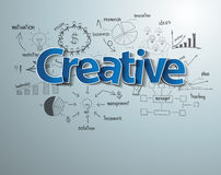 Vector creative text with drawing business success Stock Images