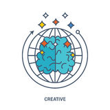 Vector about creative thinking, creation, an innovation. Illustration essence in display of creative thinking, creativity and creation. Creative concept of the Royalty Free Stock Image