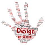Vector creativity art graphic identity design visual. Vector conceptual creativity art graphic identity design visual hand print stamp word cloud  background Stock Photo
