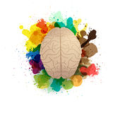 Vector creativity brain with watercolor splatter. Creativity brain with watercolor splatter, Vector illustration modern design template Royalty Free Stock Photography