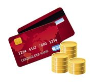 Vector credit card and golden coins Stock Photo