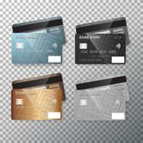 Vector Credit Card Set. Realistic Bank Cards Isolated on Transparent Background Royalty Free Stock Images