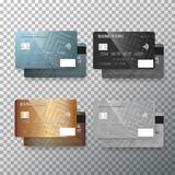 Vector Credit Card Set. Realistic Bank Cards Isolated on Transparent Background Royalty Free Stock Photography