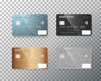 Vector Credit Card Set. Realistic Bank Cards  on Transparent Background Stock Photos