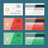 Vector Credit Card two sides in flat style Stock Photography