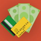 Vector Credit Cards and Money Icon Stock Photos