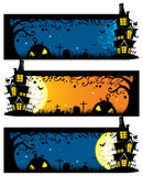 Vector creepy halloween horizontal banner template with spooky house on the grave yard Stock Image