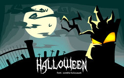 Vector Creepy Halloween Illustration with Dead Tree Alive in Blue Royalty Free Stock Photo