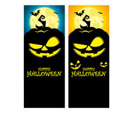 Vector creepy halloween pumpkin vertical banner template Royalty Free Stock Photos