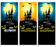 Vector Creepy Halloween Vertical Banner Template with Castle Silhouette in front of Full Moon Stock Photos