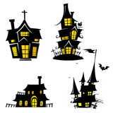 Vector Creepy House Mansion and Castle Template drawn in cartoon style Royalty Free Stock Photography