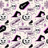 Vector trendy halloween seamless pattern with memphis geometric style of pumpkin, skull, spider web, and horror crow. Fashion arti. Vector creepy trendy royalty free illustration
