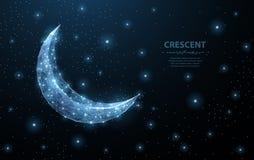Vector crescent moon. Abstract polygonal wireframe on dark blue night sky background. Night symbol. Arabic, islamic Stock Image