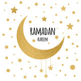 Vector crescent moon with hanging stars for Holy Month of Muslim Community, Ramadan Kareem celebration. Stock Photography