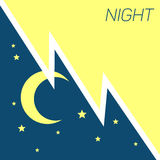 Vector crescent moon and stars night concept Royalty Free Stock Photography