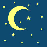 Vector crescent moon and stars night icon Stock Photography