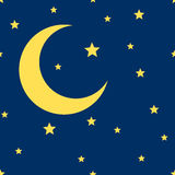 Vector crescent moon and stars seamless pattern Royalty Free Stock Images