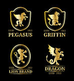 Vector crest monograms templates. Luxury pegasus,dragon, lion, griffin design.Graceful animals silhouettes illustration. Royalty Free Stock Photos