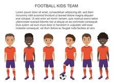 Vector crianças do futebol do futebol da escola dos desenhos animados team no uniforme isolado Fotos de Stock