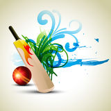 Vector cricket background. Vector cricket bat and ball in abstract background Stock Photos