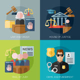 Vector crime, punishment, law and order social. Vector crime and punishment law and order social flat icons set Royalty Free Stock Photography