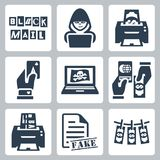 Vector criminal activity icons set Royalty Free Stock Photos