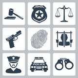 Vector criminal/police icons set Stock Photo