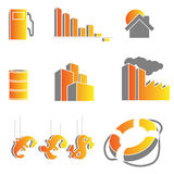 Vector crisis icons. Abstract vector set of crisis symbols and icons Stock Photo