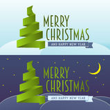 Vector cristmas card set. Merry Christmas and happy new year concept of greeting card. With ribbon christmas tree Stock Photo